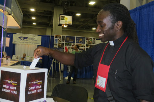 "Edwin Johnson of the Diocese of Massachusetts casts his first-ever Lent Madness ballot during ""Lent Madness Day"" at General Convention on June 25. Photo: Sharon Sheridan / Episcopal News Service"