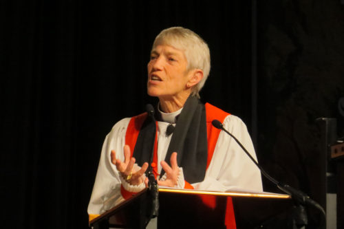 Diocese of Los Angeles Bishop Suffragan Mary Douglas Glasspool preaches at the June 29 Integrity Eucharist at General Convention 2015. Photo: Sharon Sheridan/Episcopal News Service