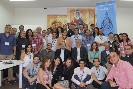 The WCC general secretary Olav Fykse Tveit with students, organizers and faculty of the Ecumenical Institute for the Middle East in Beirut, Lebanon. Photo: World Student Christian Federation – Middle East