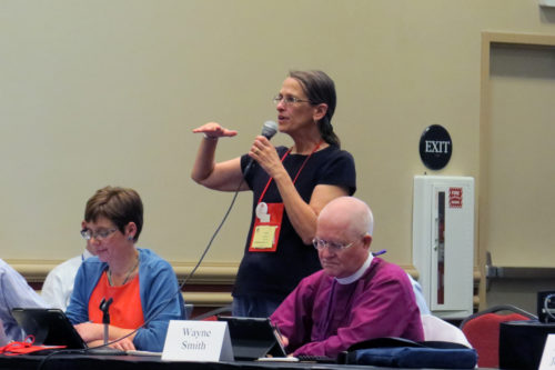 The Rev. Ruth Meyers, Standing Commission on Liturgy and Music chair, standing, addresses the Prayer Book, Liturgy and Music legislative committee, chaired by the Rev. Devon Anderson and Missouri Bishop Wayne Smith, right. Meyers served as consultant to the committee during General Convention 2015. Photo: Sharon Sheridan/Episcopal News Service