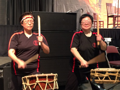 """Taiko drummers perform at the July 1 Eucharist honoring the late Rev. Hiram Hisanori Kano. The 78th General Convention passed a resolution including Kano and others in """"A Great Cloud of Witnesses: A Calendar of Commemorations."""" Photo: Pat McCaughan/Episcopal News Service"""