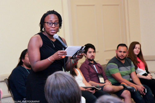 The Rev. Myra Garnes Shuler, introducing the young adult speakers at the Acts8Moment gathering. Photo: Lynn Collins