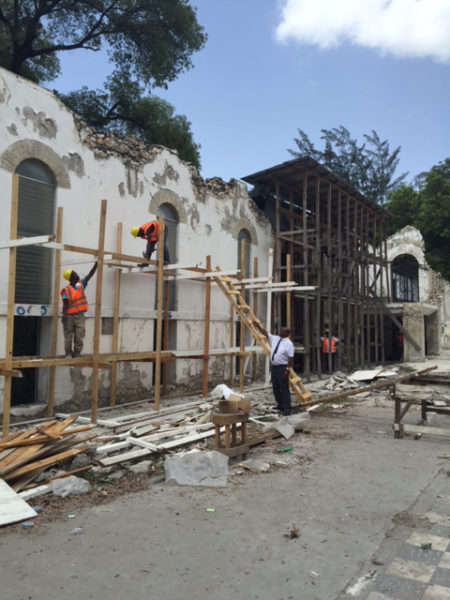 Sections of Holy Trinity Cathedral's exterior wall withstood the magnitude-7, catastrophic earthquake and will be incorporated into the new cathedral. Photo: Diocese of Haiti