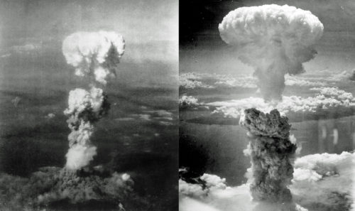 The first atomic bomb was dropped on Hiroshima Aug. 6, 1945 (left). The second was dropped on Nagasaki Aug. 9, 1945. Photo: Wikimedia Commons