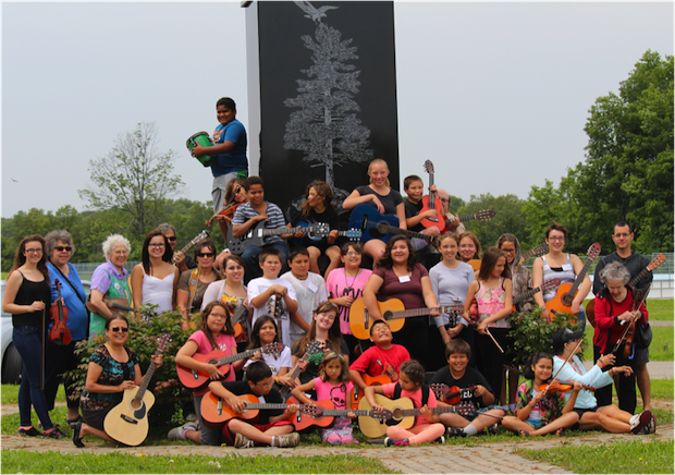 Campers and volunteer leaders at the second Music for the Spirit summer camp in Ohsweken, Six Nations. Photo: Richelle Miller