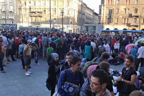 Refugees gather outside Budapest's Keleti International Train Station. Photo: Diocese of Europe