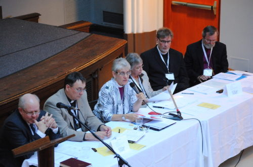 Commission members present their report to CoGS members (L to R): Stephen Martin, Canon Paul Jennings, Bishop Linda Nicholls, Patricia Bays, The Rev. Paul Friesen and Archbishop John Privett. Photo: André Forget
