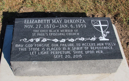 St. Paul's, Clay Center, placed this marker on the grave of Mai DeKonza, the only black member in the church's history, as a mark of repentance for her lack of acceptance by the congregation during her life. Photo: Melodie Woerman/Diocese of Kansas