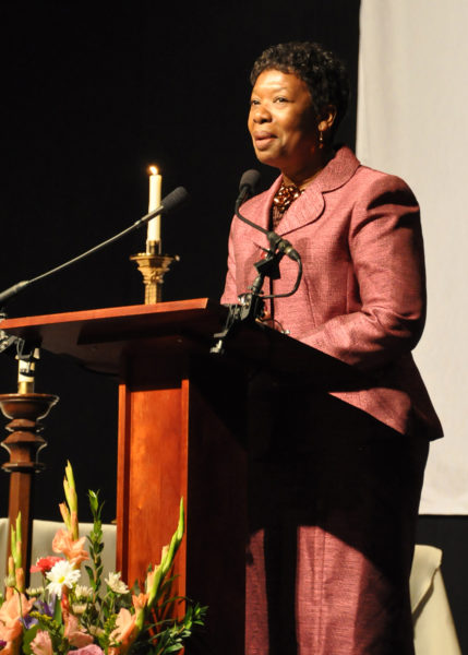 Union of Black Episcopalians President Annette Buchanan speaks Oct. 31 to the Vigil Celebration UBE hosted at the D.C. Armory on the eve of Bishop Michael B. Curry's installation as the 27th presiding bishop of The Episcopal Church and its primate. Photo: Mary Frances Schjonberg/Episcopal News Service