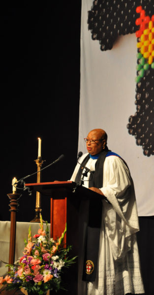 """""""It is delightful to note today that the church is not following the world. Tonight our clocks in the United States are turned back as our church moves forward,"""" said the Rev. Canon Sandye Wilson, advisor to Union of Black Episcopalians President Annette Buchanan and rector of the Episcopal Church of St. Andrew and Holy Communion in South Orange, New Jersey, during her sermon for UBE's Oct. 31 Vigil Eucharist for Presiding Bishop-elect Michael B. Curry. Photo: Mary Frances Schjonberg/Episcopal News Service"""