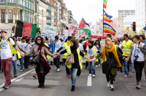 Thousands of people take to the streets of Brussels on Sept. 27 for a solidarity march in support of refugees. Photo: Felicity Handford