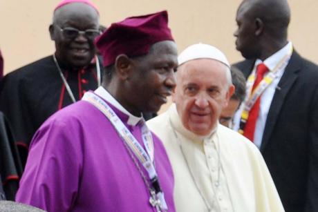 Pope Francis and Archbishop Stanley Ntagali at the Anglican Shrine to the Ugandan Martyrs in Namugongo Photo: Petero Buyondo and Francis Emorut