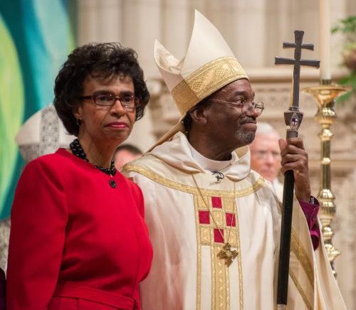 Presiding Bishop Michael B. Curry and wife, Sharon, greet the congregation at Washington National Cathedral Nov. 1 during his installation service. Photo: Photo: Danielle Thomas/(c) 2015 Washington National Cathedral