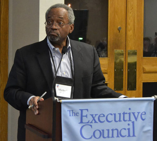 Presiding Bishop Michael B. Curry listens to Executive Council debate during the group's Nov. 15-18 meeting at the Maritime Institute Conference Center in Linthicum Heights, Maryland. Photo: Jim Simons/ via Facebook