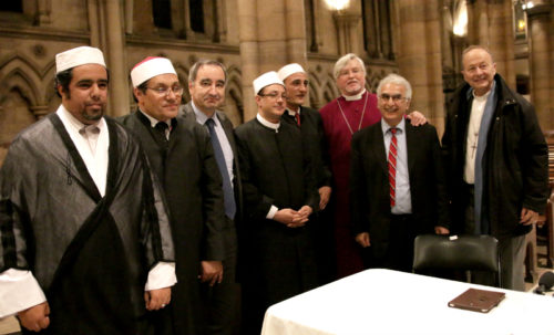 Religious leaders, Muslim theologians gather at the Cathedral of the Holy Trinity in Paris for a Nov. 17 conversation about peacemaking. Photo: Jere Skipper