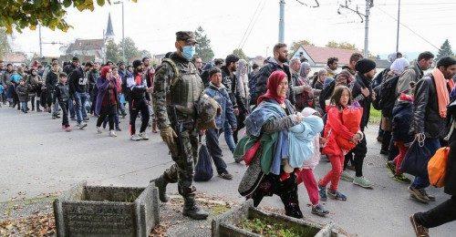 Refugiados y migrantes, principalmente de Siria, Afganistán, Bangladesh y Pakistán, pasan, el 23 de octubre, a través de Eslovenia en su camino a Alemania. Foto de Robert Cotič vía Wikimedia Commons.