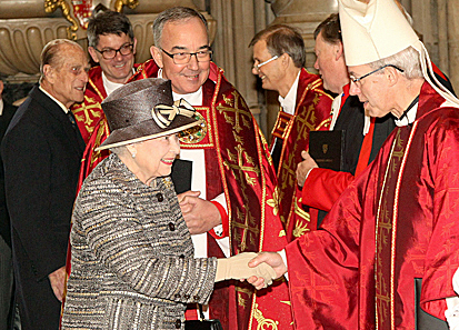 Archbishop of Canterbury Justin Welby greets Queen Elizabeth at the Eucharist for the inauguration of the 10th term of General Synod in the Church of England. Photo: Picture Partnership/Westminster Abbey