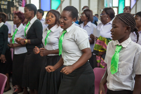 Young people dance during the launch service in the Cathedral of the Holy Cross in Lusaka for next year's ACC-16 meeting. Photo: Michael Ade/Anglican Communion Office