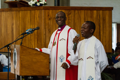The general secretary of the Anglican Communion, Archbishop Josiah Idowu-Fearon, preaches at the Cathedral of the Holy Cross in Lusaka during the launch service for next year's ACC-16 meeting. Photo: Michael Ade/Anglican Communion Office