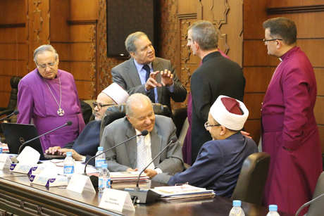 Anglican and Muslim leaders chat informally during inter-faith dialogue at the renowned Al-Azhar Al-Sherif Islamic center in Cairo Photo: Diocese of Egypt with North Africa and the Horn of Africa