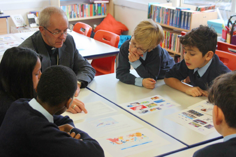 Archbishop Justin Welby discusses the LifeSavers scheme with pupils at St Bartholomew's Church of England primary school in south London Photo: Lambeth Palace