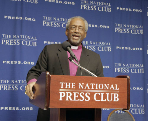 Presiding Bishop Michael Curry addresses members and guests of the National Press Club on Feb. 8 in Washington, D.C., on the church's role in creating a more inclusive society. Photo: Lynette Wilson/Episcopal News Service