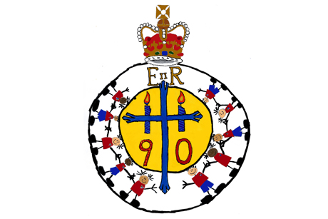 The logo that the Church of England will use for events marking Queen Elizabeth II's 90th birthday on 21 April. Photo Credit: Luke Sallinger