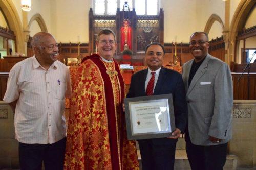Senior Warden Philip Carrington, the Rev. Canon Robert W. Alltop, Dr. Richard E Smith andJunior WardenRudolph Markoe.