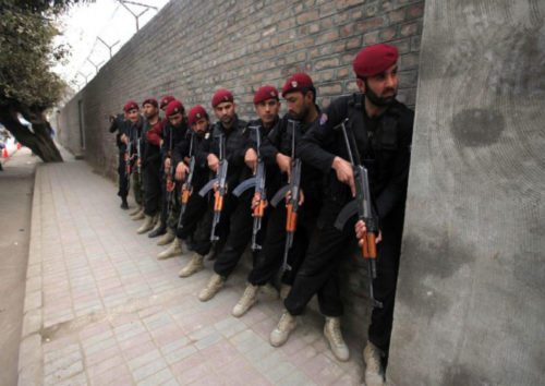 Security forces carry out an anti-terror exercise at Peshawar Diocese's Elizabeth Girls High School. Photo: The Frontier News