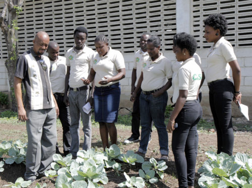 Teacher Georges Gabriel Etienne, who teaches botanics and vegetable crops, leads students on a lesson outside in the test plot. Photo: Lynette Wilson/Episcopal News Service