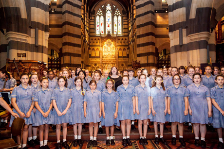 18 girls from Lowther Hall Anglican Grammar School have formed the first all-girl cathedral choir in the southern hemisphere at St Paul's Cathedral, Melbourne. Photo: St Paul's Cathedral, Melbourne