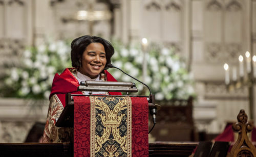 The Very Rev. Miguelina Howell speaks during her Feb. 18 installation as the 10th dean of Christ Church Cathedral. Photo: Episcopal Church in Connecticut