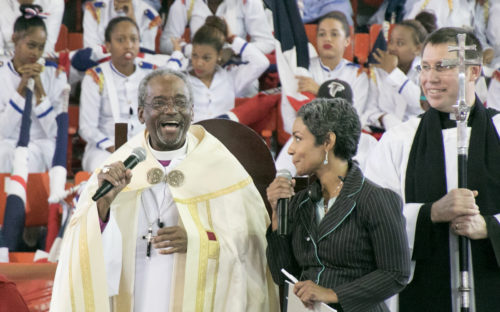 Presiding Bishop Michael Curry with his translator, Dinorah Padro and the Rev. Michael Hunn, canon to the presiding bishop for ministry within the Episcopal Church. Photo: Julius Ariail for the Diocese of the Dominican Republic