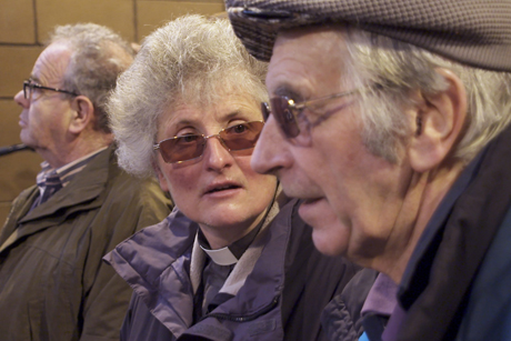 The Revd Canon Eileen Davies talks to farmers in an election video produced by the churches of Wales. Photo: Church in Wales