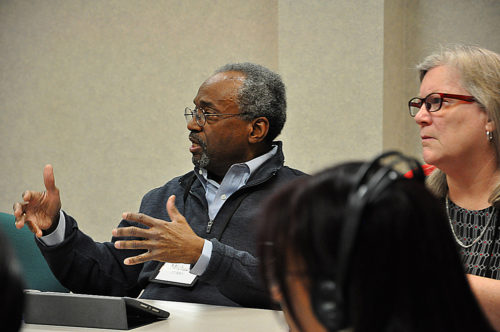 Presiding Bishop Michael Curry discusses emerging plans for racial reconciliation work while House of Deputies President the Rev. Gay Clark Jennings listens during the recent Executive Council meeting in Fort Worth. Photo: Mary Frances Schjonberg/Episcopal News Service