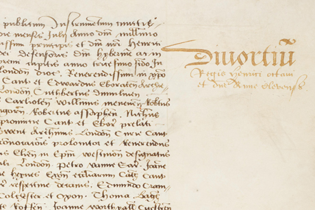 """A margin headline from the York Registers reads """"Divortiu(m) Regis Henrici octaui et d(omi)ne Anne Clevensis"""" - the divorce of Henry VIII and Ann of Cleves"""