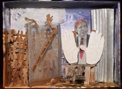 Los dioramas sirven como recordatorios visuales de los millones de refugiados en todo el mundo. Foto de David S. Deutsch.