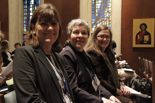Diane Wright, of the Diocese of Virginia, left, Cynthia Katsarelis, of the Diocese of Colorado, and Jennifer Allen, of the Diocese of Kansas, sat together to watch the United Nations Conference on the Status of Women's opening webcast broadcast live on March 14 from United Nations headquarters. Photo: Lynette Wilson/Episcopal News Service