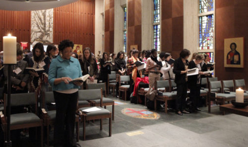 Episcopal and Anglican women gathered March 14 at the Episcopal Church Center's Chapel of Christ the Lord for a Eucharist opening the 60th annual United Nations Conference on the Status of Women underway through March 24. Photo: Lynette Wilson/Episcopal News Service