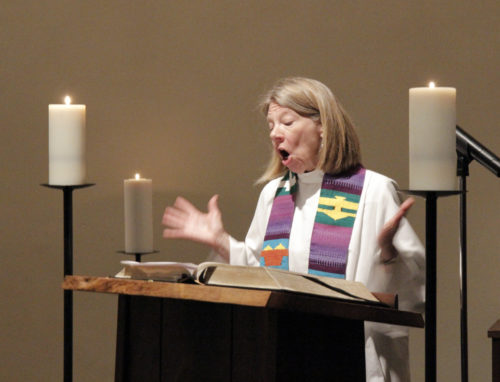 The Rev. Margaret Rose, the Episcopal Church's deputy for ecumenical and interfaith collaboration, preached during the opening Eucharist at the Chapel of Christ the Lord located at the Episcopal Church Center a block from the United Nations headquarters. Photo: Lynette Wilson/Episcopal News Service