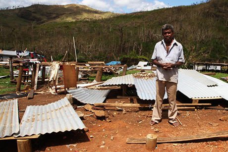 Simione Ravu was knocked out after Cyclone Winston hurled his house, with him still inside it, through the air before slamming it into a stream bank. He was later found by fellow Maniava residents in the mouth of a cave. Photo: Anglican Taonga