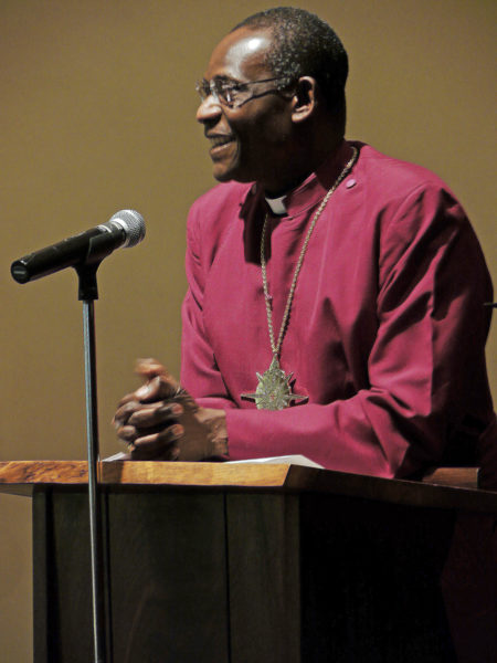 """We must speak up for the people we serve at the grassroots level,"" the Most Rev. Josiah Atkins Idowu-Fearon tells Anglican and Episcopal women meeting March 16 in the Chapel of Christ the Lord at the Episcopal Church Center in New York. Photo: Mary Frances Schjonberg"