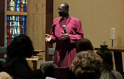 Women ought to encourage their husbands and other men to join them to eradicate gender-based violence, the Most Rev. Josiah Atkins Idowu-Fearon tells Anglican and Episcopal women gathered March 16 in the Chapel of Christ the Lord at the Episcopal Church Center in New York. The speech by the Anglican Communion's secretary general came during an event related to the 60th session of the United Nations Commission on the Status of Women. Photo: Mary Frances Schjonberg