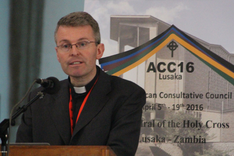 Father Tony Currer of the Pontifical Council for Promoting Christian Unity addresses members of the Anglican Consultative Council meeting in the Cathedral of the Holy Cross, Lusaka, Zambia. Photo Credit: Gavin Drake/ACNS