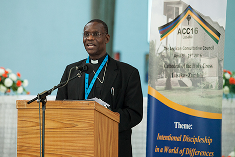 Archbishop Josiah Idowu-Fearon, secretary general of the Anglican Communion, delivers his report to members of the Anglican Consultative Council, meeting at the Cathedral of the Holy Cross in Lusaka, Zambia. Photo: ACNS