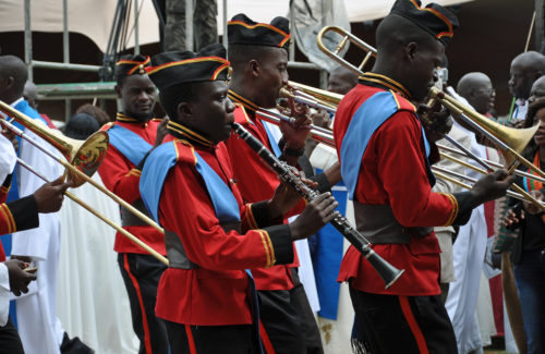 A brass band plays during the recessional. Photo: Mary Frances Schjonberg/Episcopal News Service