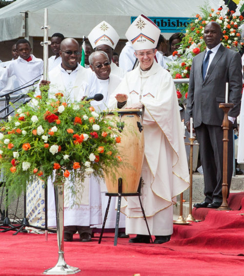 Archbishop of Canterbury Justin Welby greets the thousands of people who came to the Cathedral of the Holy Cross in Lusaka April 10 for the five-hour Anglican Consultative Council opening Eucharist. Photo: Anglican Communion Office