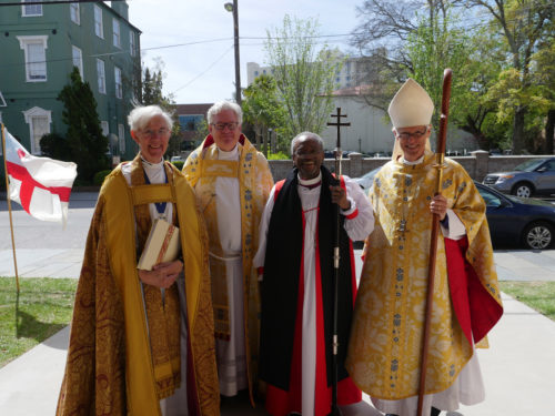 Presiding Bishop Michael Curry visited Grace Church Cathedral on Sunday, April 10 for a special service that included the dedication of a stone from Canterbury Cathedral. From left the Very Rev. Robert Willis, the Very Reverend J. Michael A. Wright, Curry and the Rt. Rev. Charles G. vonRosenberg. Photo: Photo: Carrie Graves, Episcopal Diocese of Upper South Carolina