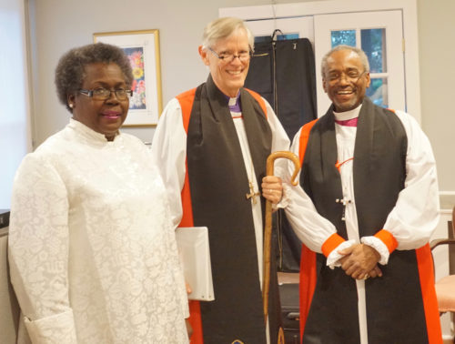 Presiding Bishop Michael Curry visited Charleston April 8-10 and participated in a service of Community Evening Prayer with the Rev. Betty Deas Clark, senior pastor of Mother Emanuel AME Church. The ecumenical service, at St. Stephen's Episcopal on Anson Street, gathered faith leaders from around Charleston as The Episcopal Church in South Carolina and Bishop Charles G. vonRosenberg (center) welcomed the presiding bishop. Photo: The Rev. William Coyne/St. Stephen's