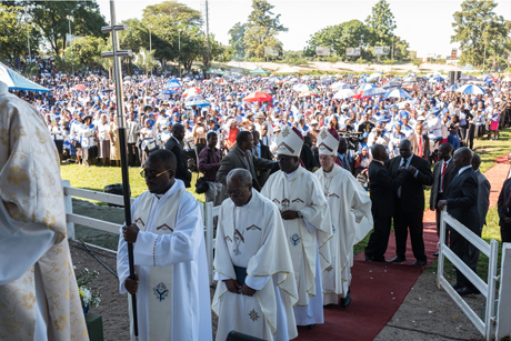 The Archbishop of Canterbury Justin Welby with bishops and clergy from Zimbabwe and the Province of Central Africa at a large-scale Eucharist in Harare's Glamis Arena, Zimbabwe, on Sunday. Photo: Jim Grover